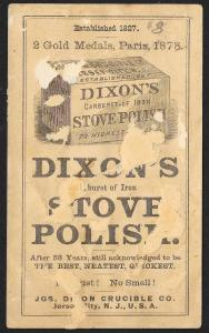 VICTORIAN TRADE CARD Dixons Stove Polish Black Woman Cleaning White Child c1878