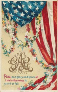 CLAPSADDLE # 2444; G. A. R. Flower Rope, U. S. Flag, Quote, PU-1911