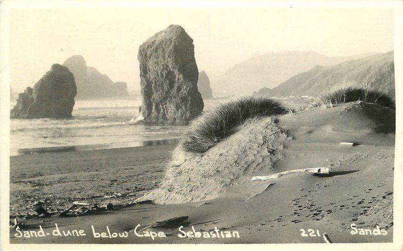 Gold Beach Oregon 1939 Sand Dune Cape Sebastian RPPC Real photo postcard 5714