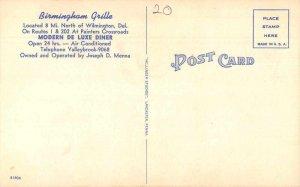 Wilmington Delaware Birmingham Grille Vintage Postcard AA10442