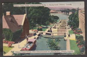 Rideau Canal Locks With Interprovincial Bridge Ottawa, Ontario 1950 Used