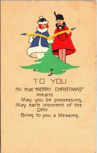 Postcard Merry Christmas To You Art Deco Style Copyright 1915 Chicago  1722
