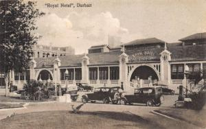 South Africa Durban Royal Hotel classic cars automobiles postcard