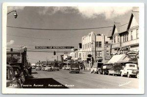 Anchorage Alaska~Fourth Avenue~Zenith Radio~Cheechako Tavern Cafe~1950 Cars~RPPC