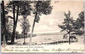 Chautauqua, New York Postcard Lake from Long Point Boat Landing 1906 Cancel