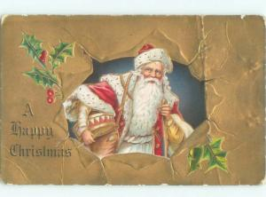 Pre-Linen Christmas SANTA CLAUS HOLDING DRUM UNDER HIS ARM AB4527