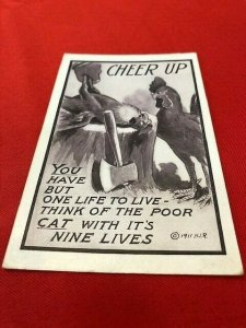 1913 Postcard Killing CHICKEN CHEER UP one life to live.cat nine lives H.I.R.
