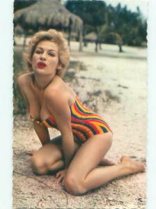 foreign 1960's Risque SEXY BLONDE WOMAN IN REVEALING BATHING SUIT AB7329