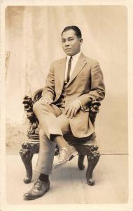 Philippines Man  in Suit Manuel Borja Real Photo Non-PC JE229708