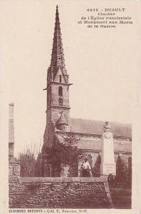 Clocher De l'Eglise Paroissiale Et Monument Aux Moris De La Guerre, Duault (C...