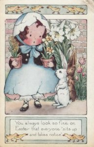 EASTER , Girl with Eggshell Bonnet holding plants, Rabbits & Ducks, 1921