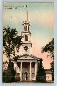 Old Lyme CT-Connecticut, Congregational Church, Clock Tower, Vintage Postcard