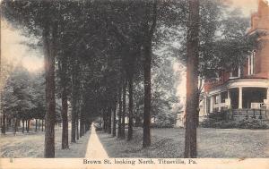 Titusville Pennsylvania~Brown Street Homes~Looking North~Dirt Road~1908 Postcard