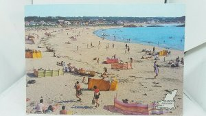 Vintage Postcard Busy Animated Beach Scene Grandes Rocques Bay Guernsey 1994