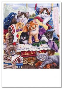 FUNNY CATs Textile Linen Wash Comic by Jenny Newland MODERN Postcard