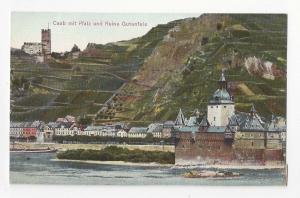 Germany Caub mit Pfalz und Ruine Gutenfels Castle Rhine Vtg Kaub Postcard c 1910