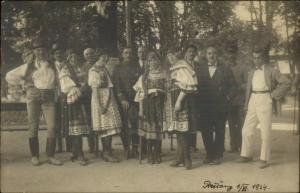 People European Hungarian? Costumes Prestany 1924 Real Photo Postcard
