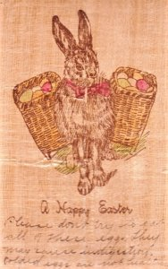 Unique Easter PC on wood. Has a Easter Bunny with saddle bags on both sides.