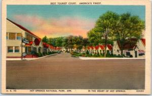 Hot Springs National Park Arkansas Postcard BEST TOURIST COURT Roadside Linen