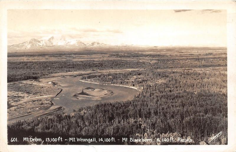 Mt Drum-Mt Wrangell-Mt Blackburn Alaska~Aerial View~1943 Sawyers RPPC Postcard