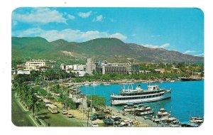 Acapulco Guerrero Mexico Miguel Aleman Boulevard Malecon Ship in Harbor Postcard
