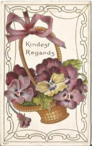 Basket full of Purple Pansies Yellow Pansies Lavender Pansy Vintage Postcard