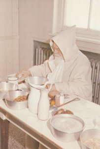 MISTASSINI, Quebec , Canada , 1986; Abbaye Cistercienne, A Monk with his meal