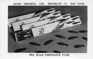 Brooklyn NY Jaret Imports 29¢ Milk Chocolate Fish RPPC Postcard