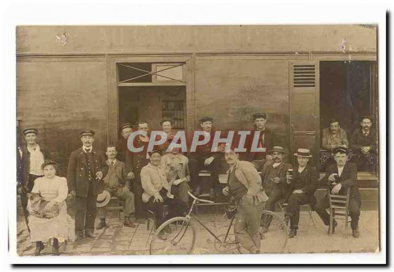 Real photo Vintage Postcard Coffee With Champagne the TOP (cyclist coffee) Pyre