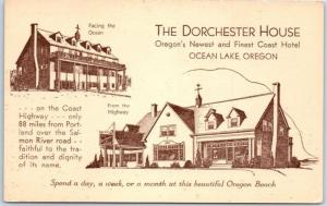 Oceanlake (Lincoln City), Oregon Postcard DORCHESTER HOUSE Hotel c1940s Unused
