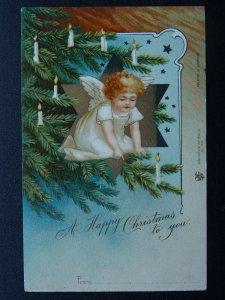 A HAPPY CHRISTMAS TO YOU Cherub on Christmas Tree c1902 UB Postcard Int Art Co.