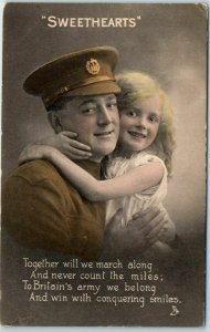 1910s TUCK'S Series 4286 WWI Postcard SWEETHEARTS! Soldier w/ Daughter Unused