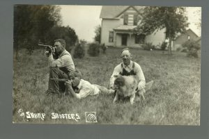 RPPC c1910 SHARP SHOOTERS Shooting RIFLES Target Practice MARKSMEN Competition