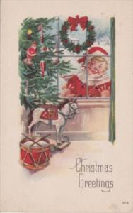 Christmas Christmas Tree With Santa Ornament Toy Drum and Horse 1922