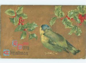 Pre-Linen Christmas BEAUTIFUL LARGE BLUEBIRD BIRD WITH HOLLY AB5131