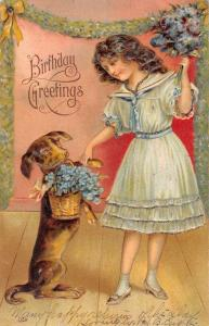 Birthday Greeting Girl With Dog Flowers Antique Postcard K78615