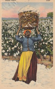Black Americana , 1930-40s ; Woman with Basket of Cotton