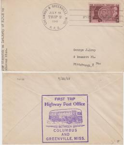 FIRST TRIP HIGHWAY POST OFFICE mail between Columbus & Greenville, MS, 1948