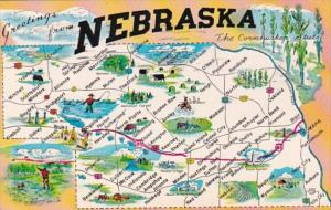 Greetings From Nebraska With Map 1959