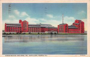 Hiram Walker & Sons Distillery, Peoria, Illinois, Early Linen Postcard, Used