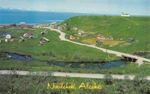 NINILCHIK, AK Alaska  VILLAGE~Russian Church on Hill  BIRD'S EYE VIEW   Postcard