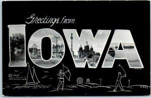 Vintage IOWA Large Letter RPPC Photo Postcard Multi-View L.L. Cook 1948 UNUSED