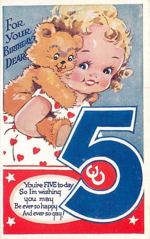 British 5th birthday greeting shows girl teddy bear ca 1940s british 5th birthday greeting shows girl teddy bear ca 1940s postcard m4hsunfo