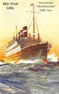 Red Star Line Passenger Steamer Belgenland Poster Type Postcard