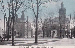 Library and Court House, Coldwater, Michigan,  PU-1914