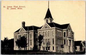 1910s St. James, Minnesota Postcard ST. JAMES HIGH SCHOOL Building View UNUSED