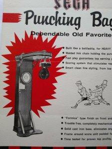 Sega Punching Bag Arcade FLYER Original Boxing Game Art Print Sheet 1960 Rare