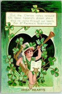 Vintage 1910s ST. PATRICK'S DAY Embossed Greetings Postcard IRISH HEARTS