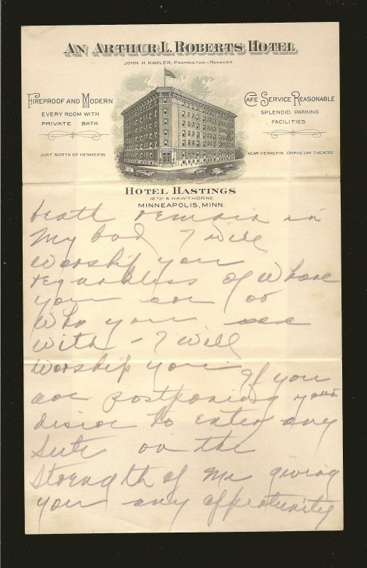 Hotel Hastings Minneapolis Minn 1920's Vignetted Hotel Stationary Used 9x6 Inch