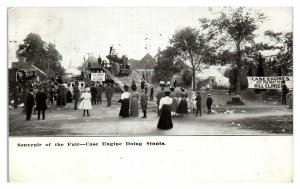 1907 Wisconsin State Fair? Case Engine Steam Tractor Stunts Postcard *5O1
